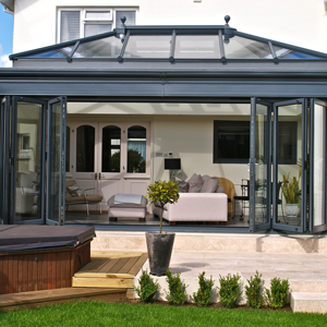 open grey bifold doors